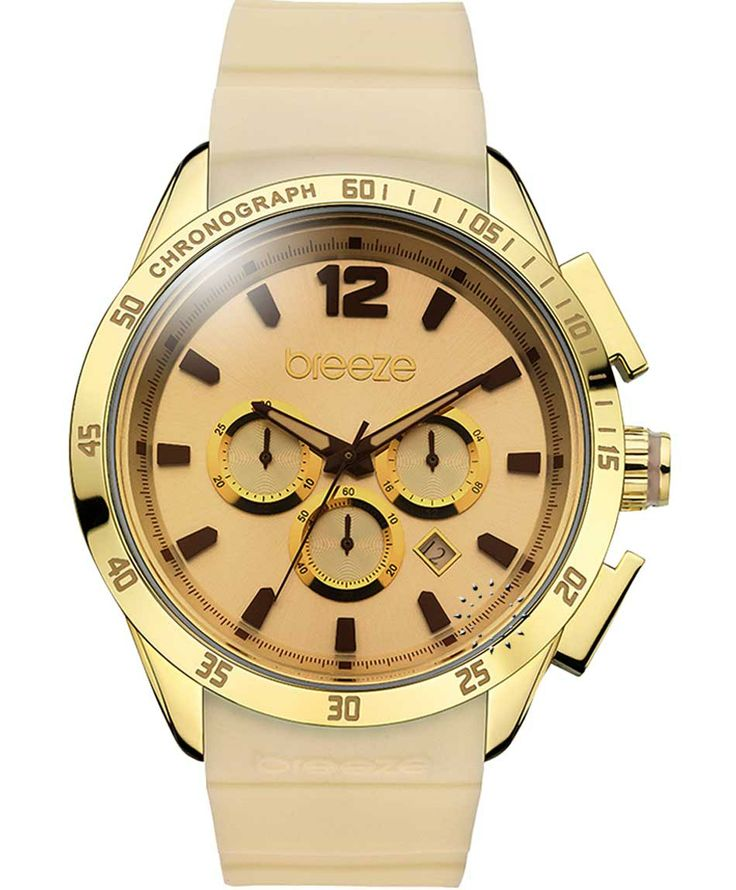 BREEZE Popsicles Chrono Gold Beige Rubber Strap Μοντέλο: 110221.6 Τιμή: 180€ http://www.oroloi.gr/product_info.php?products_id=38095