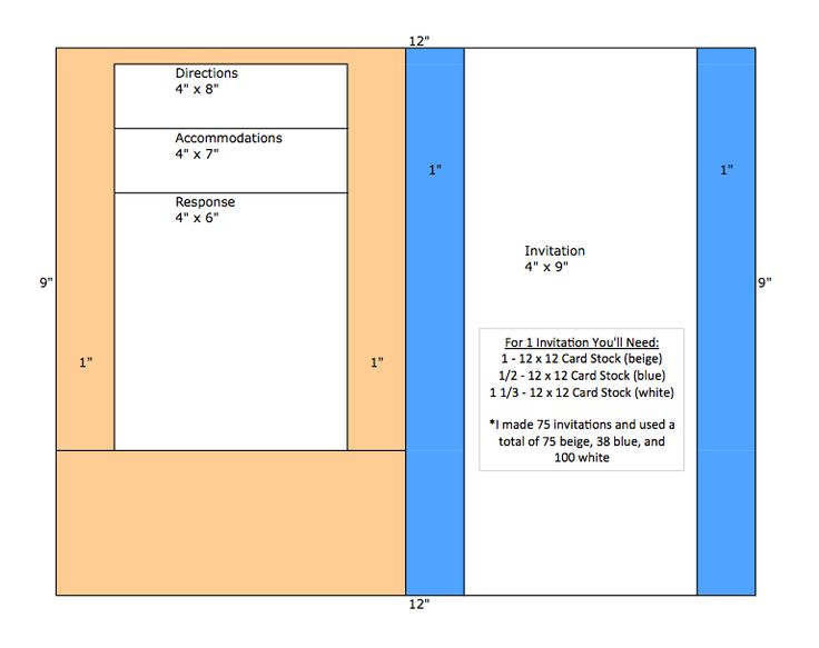 Template For DIY Pocket Fold Invitations. I Like The Simple Bi Fold Style,