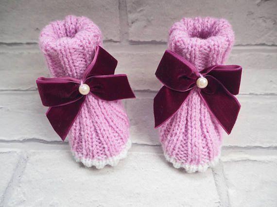 Botines/punto bebé patucos bebé niña botines nuevo bebé regalo bebé ducha regalo bebé bautizo regalo bebé sandalias bebé zapatos de bebé de color rosa