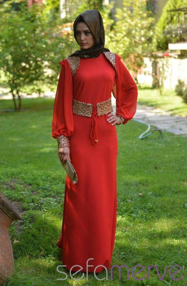 Sefamerve Abiye Elbiseler PDY 3721-06 Kırmızı