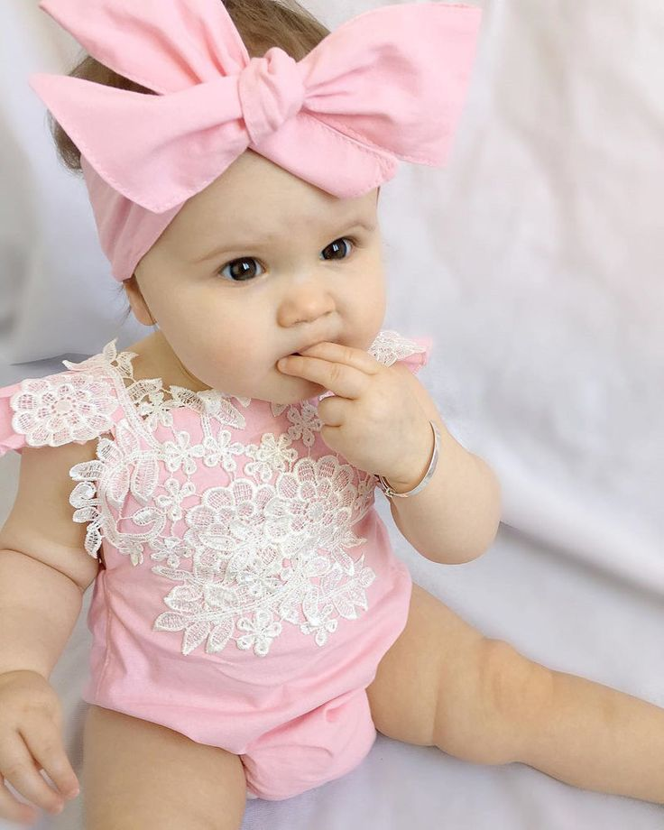 Newborn Baby Girls Lace Bodysuit Cute Pink Jumpsuit Sleeveless Floral Summer Wear Sunsuit And Headband For 0-2Y Girls