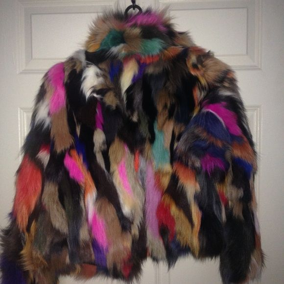 Colorful fox jacket size M Beautiful and soft with hook closures Jackets & Coats
