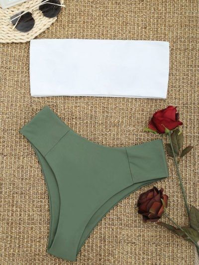 SHARE & Get it FREE | High Cut Two Tone Bandeau Bikini Set - Army Green MFor Fashion Lovers only:80,000+ Items • New Arrivals Daily Join Zaful: Get YOUR $50 NOW!