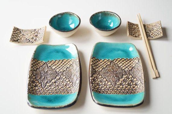 Sushi Serving Set Set for Two Turquoise Sushi Set by bemika