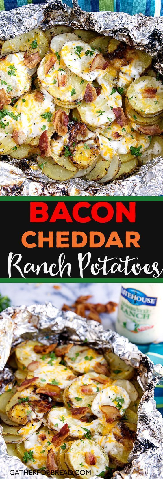 Bacon Ranch Grilled Potatoes - Sliced potatoes flavored with real Ranch dressing, bacon and cheese for an ultimate summer grilled side dish. (Bbq Recipes Potatoes)