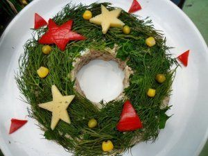 Salad Christmas wreath