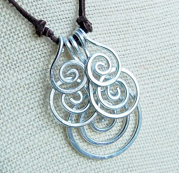 Spiral Cluster Necklace, Wire Spiral,  Aluminum Wire Jewelry, Wire Jewelry via Etsy