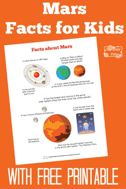 Fun Mars Facts for Kids With Free Printables