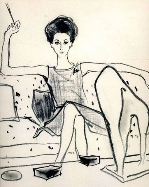 Gloria Guinness (1912-1980) wearing a creation by Christian Dior. This sketch from her Palm Beach home appeared on page one of Women's Wear Daily, February 1962.  ((Guinness was a socialite and fashion icon of the Twentieth Century, as well as a contributing editor to Harper's Bazaar from 1963 until 1971. In the year, 1964 she was inducted into the International Best Dressed List Hall of Fame.))