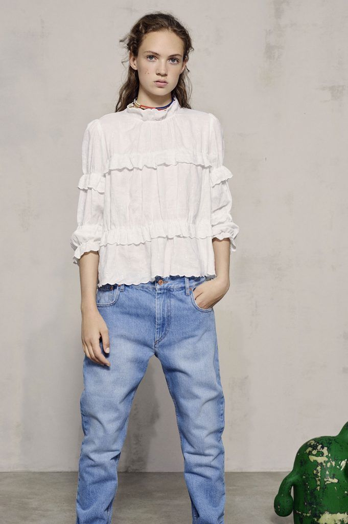 Isabel Marant SS17 Collection | white high neck ruffled top