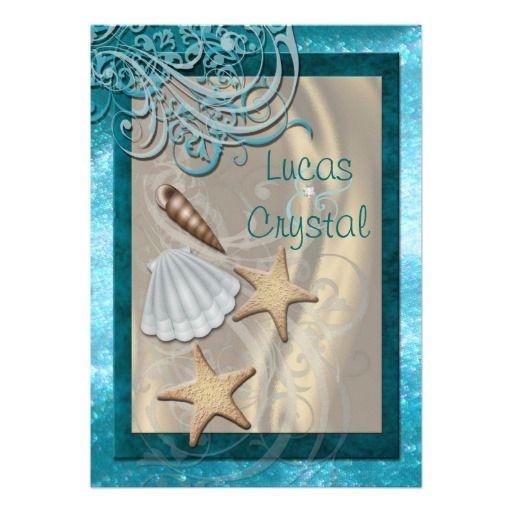 teal beach wedding | Shimmering Seashell Teal Beach Wedding Invitation from Zazzle.com