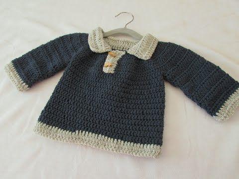 VERY EASY crochet little boy's sweater / jumper / pullover tutorial - YouTube