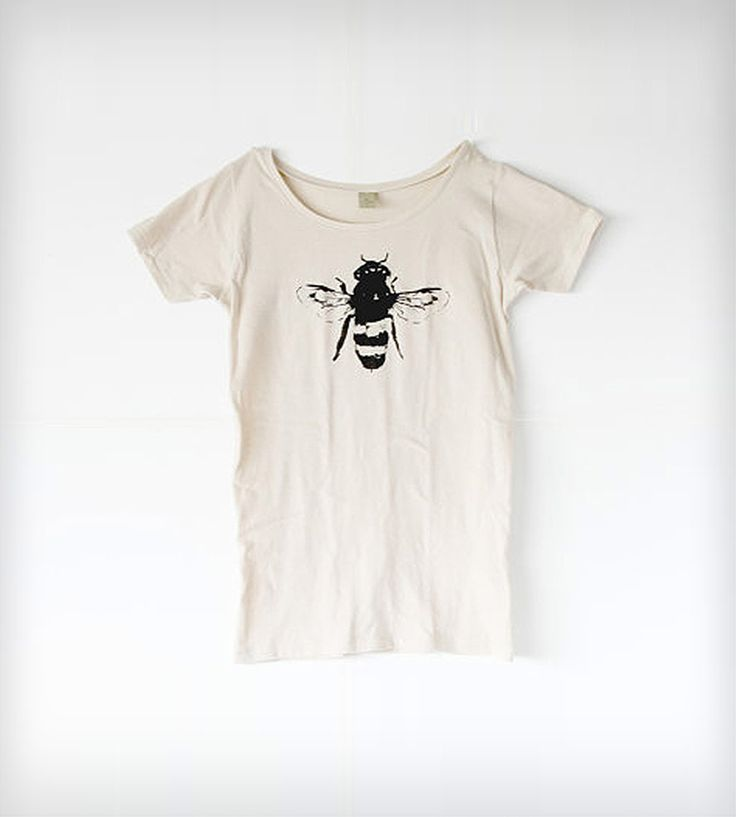 Women's Honey Bee T-Shirt - Natural White | Womens scoop neck organic cotton and bamboo blend t-shirt with... | T-Shirts