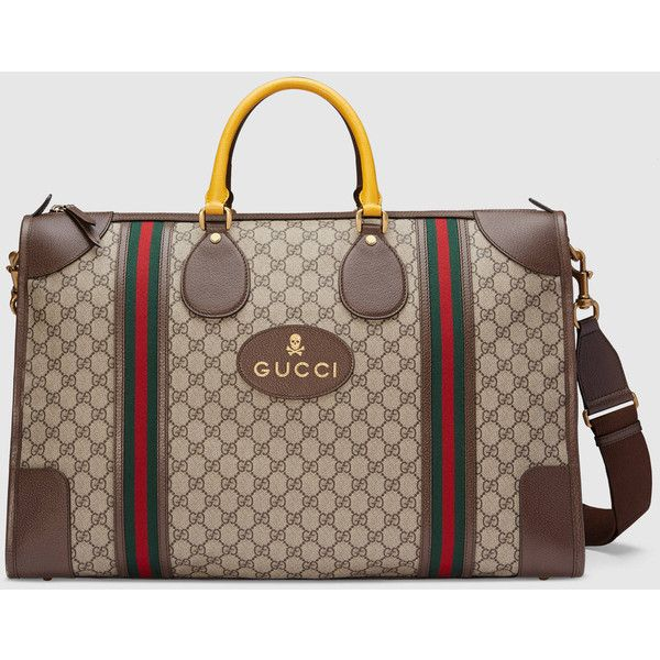Gucci Soft Gg Supreme Duffle Bag With Web (100,610 PHP) ❤ liked on Polyvore featuring bags, luggage, men, brown, suitcases & duffle bags, mens leather bags, mens leather duffle travel bag, mens leather duffle bag, mens travel bag and mens leather duffel bag