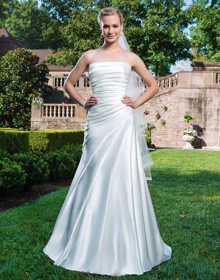 Cool Sincerity wedding dress style Charmeuse Slim A line embellished with a strapless neckline