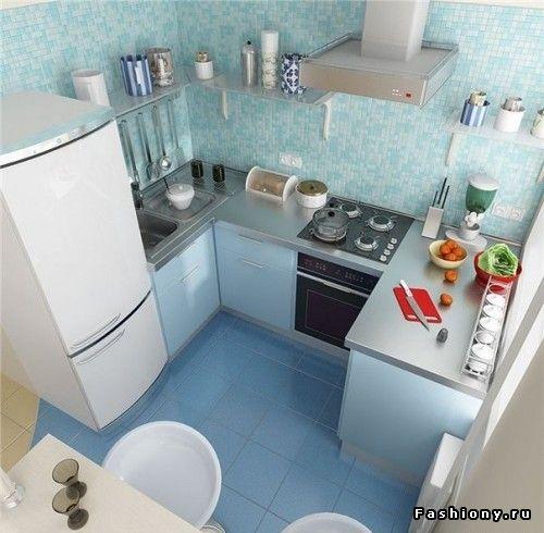 Интерьер маленькой кухни (6 кв.м.)