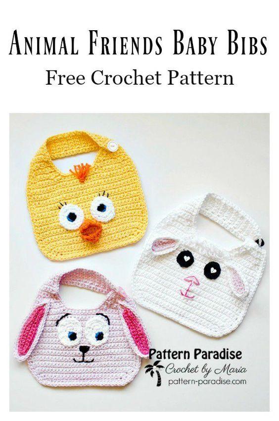 5 Cute Baby Bib Free Crochet Patterns | Knit & Crochet | Pinterest ...
