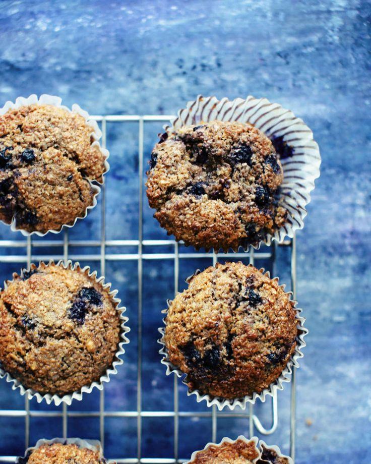 Moist Blueberry Bran Muffins - Foodess