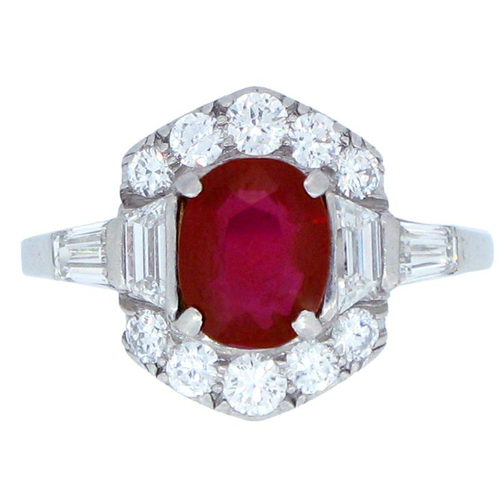 Custom Burma Ruby Ring: Art Deco Natural Unenhanced Burmese Ruby And Diamond Ring