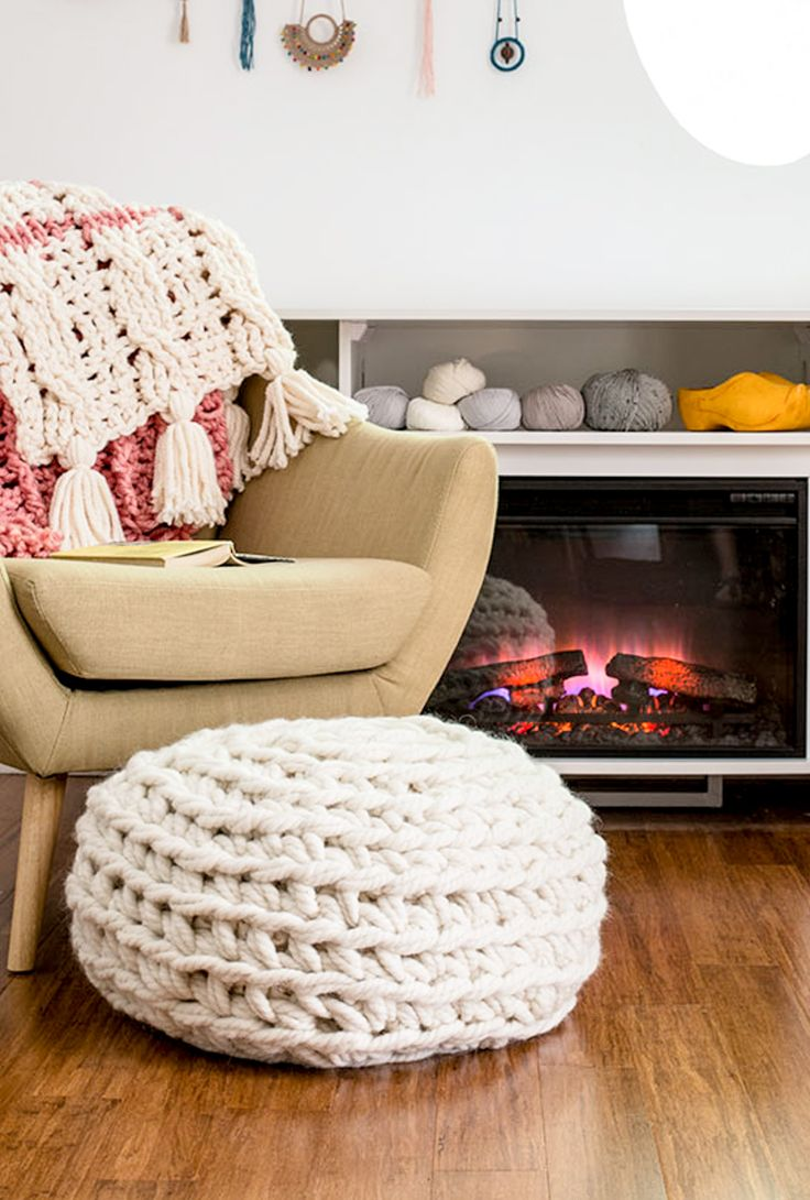 Make this easy, chunky hand crochet pouf pattern in no time at all. Love the extreme look and structure of this ottoman. Find in Crochetscene 2017!