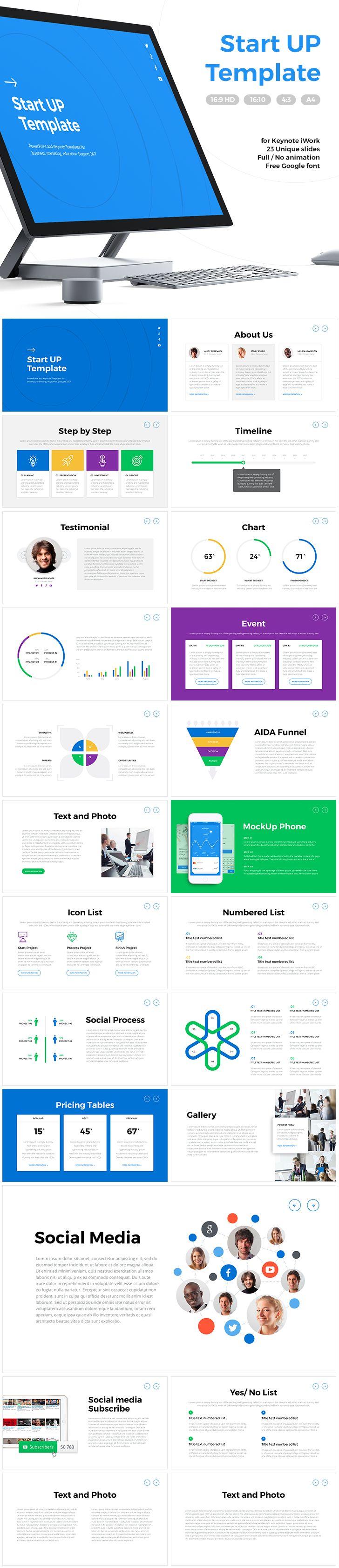 "Download Link: https://goo.gl/PjfLvJ ""StartUp"": 23 Unique slides, Full / No animation, timeline, chart, about us slide, iphone mockup, ipad mockup, AIDA Funnel, SWOT analysis. Aspect Ratio - 16:9, 16:10, 4:3. A4. Material Design. For iWork Keynote"