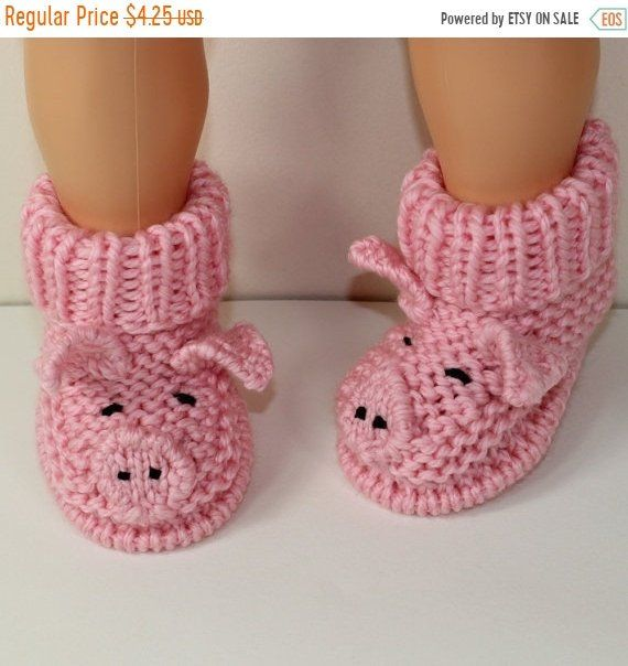 NOW Instant Digital File pdf download knitting pattern Toddler Piggy Boots knitting pattern