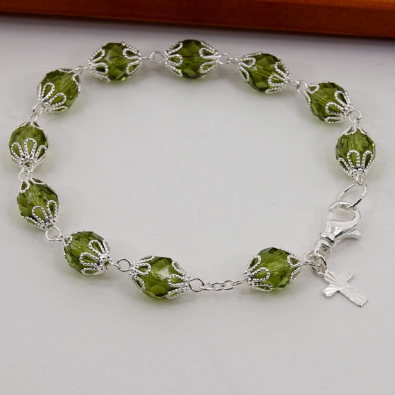 Birthstone Rosary Bracelet with Silver Cross and by TamsyTrends, $18.00