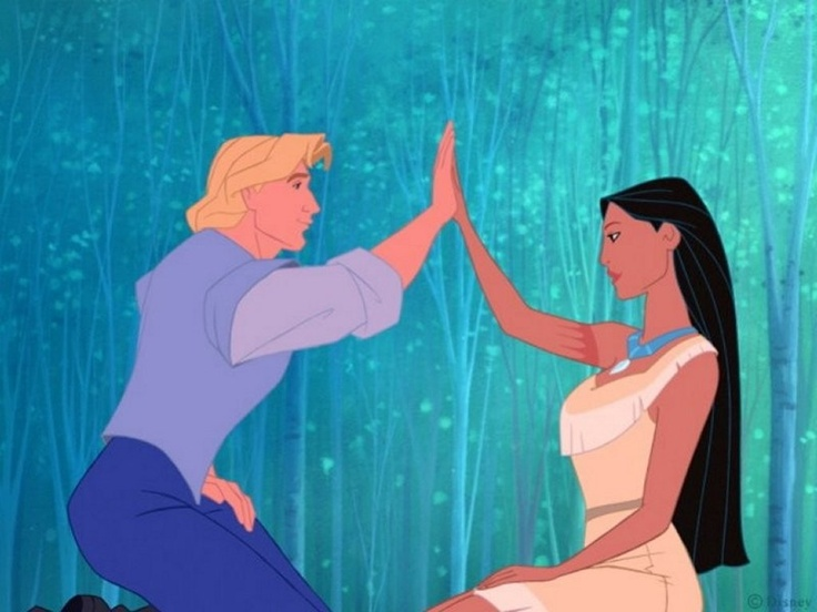 Pocahontas and John Smith. Two worlds as one.