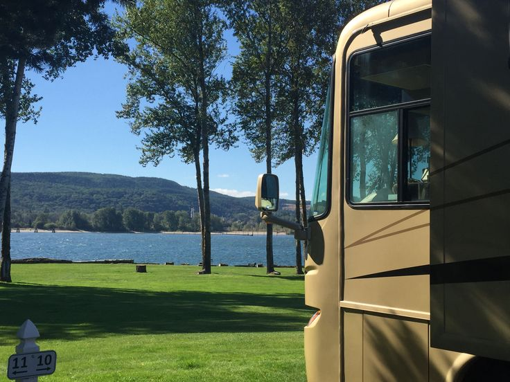 Columbia Riverfront RV Park in Woodland, WA.  Beautiful park with 900 ft of private beach.  Campfires allowed in special containers next to beach.  All gravel sites. Wifi is decent.  Super quiet.