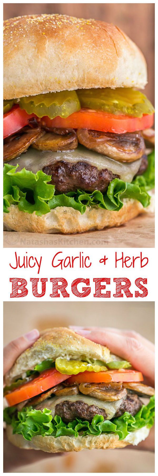 These burgers are fresh, juicy, fluffy and delicious, and feel lighter on the gut than frozen patties. So easy and they totally taste like a gourmet burger! Love this juicy burger recipe | natashaskitchen.com