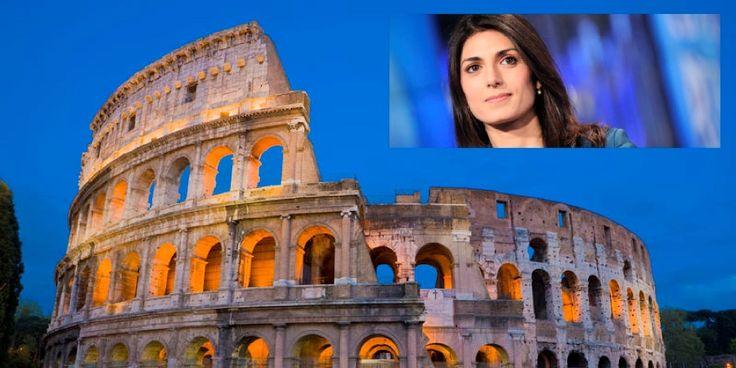 Il Colosseo e nel riquadro il nuovo sindaco di Roma, Virginia Raggi