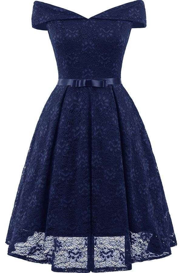 Dark-blue Off Shoulder Short Sleeve Lace Bow Zipper Chic Party Dress #043860 @ P…