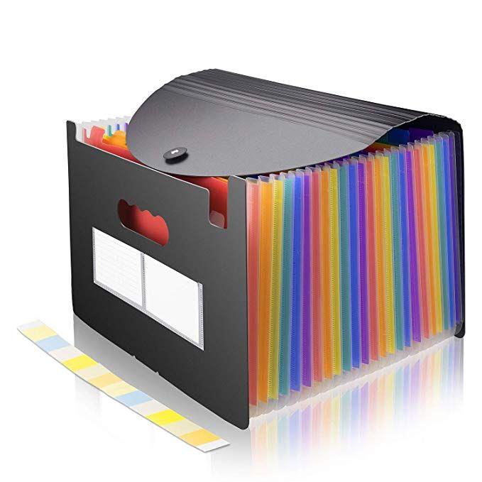 File Folder Organizer Expanding File Holder 24 Pocket Accordion Folders Expandable Cover Standing File Folder Organization Folder Organization Accordion Folder