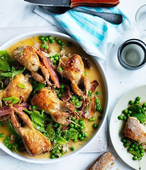 Australian Gourmet Traveller recipe for roast quail with bacon, peas and mint.
