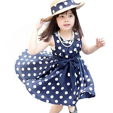 Girl's+Summer+Polka+Dots+Dark+Blue+Sleeveless+Dress+–+USD+$+5.99