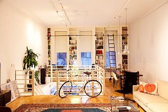 J. Halmos & S. Shipley, the selby: Interior Design, Spaces, Interiors, Living Room, Loft, High Ceilings, Library Ladder