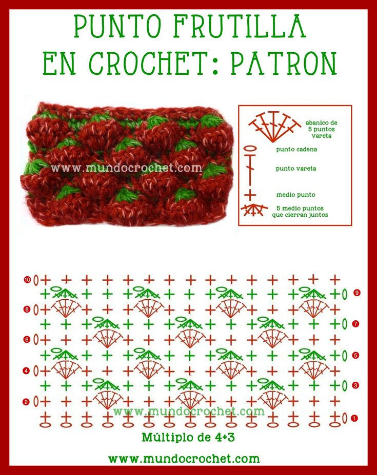 Punto frutilla, fresa o Strawberry stitch a Crochet o ganchillo