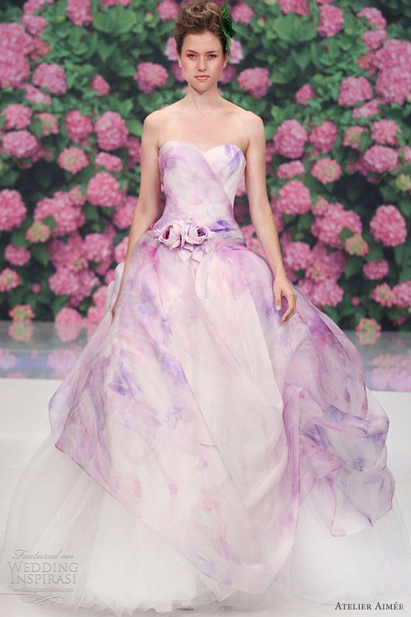 atelier aimee bridal  rose pink purple print color wedding dress / Rapunzel