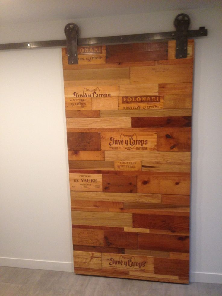 My contemporary concept barn door made from re-purposed wine crates.
