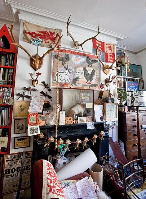 Mark Hearld's house and studio, the living room.