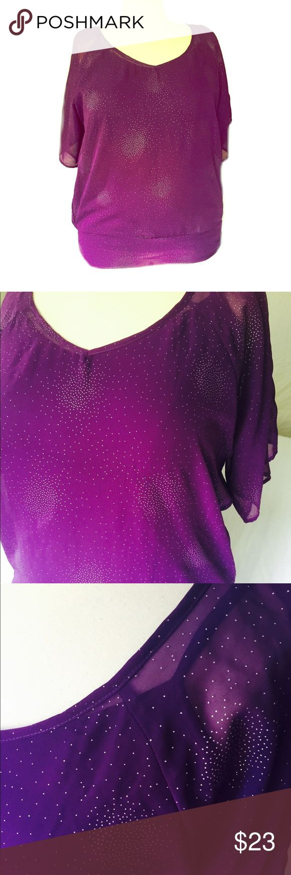 👚Maurices Sheer Plum Tulip Back Blouse👚 Sheer short sleeved purple blouse with sparkles. Built in purple cami, open tulip back, banded bottom. 😍 Maurices Tops Blouses