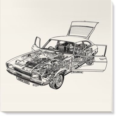 Canvases of White Ford Capri by Haynes Manuals (1500mm x 1500mm)   Shop   Surface View