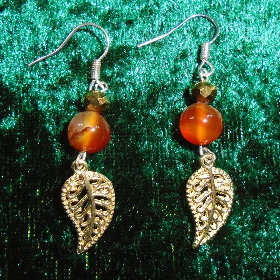 Earrings  Autumn Leaves  Gemstone and Glass  Free by KasumiCrafts