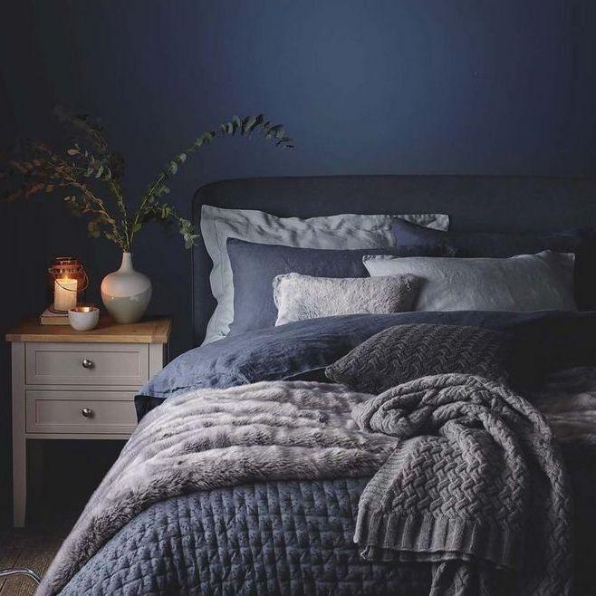 39 Dark And Moody Modern Farmhouse Bedroom Ideas Myhomeorganic Blue Bedroom Design Blue Master Bedroom Bedroom Decor Master For Couples