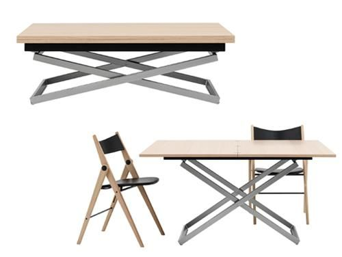 This coffee table adjusts in height and extends up top to become a fully functional dining table