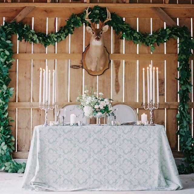Elegant rustic barn wedding reception | Melanie Gabrielle Photography | see more on: http://burnettsboards.com/2014/12/garden-gunmetal-wedding-inspiration/