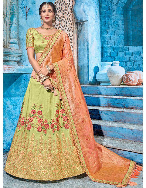 1f41f5bcc26b Pastel Green Designer Lehenga Choli with Silk Dupatta in 2019 ...