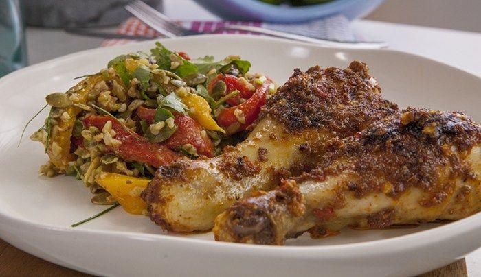 Spicy Harissa Chicken Drumsticks with Charred Capsicum Salad