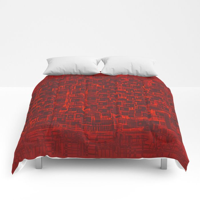 Adventure Black on Red Comforters