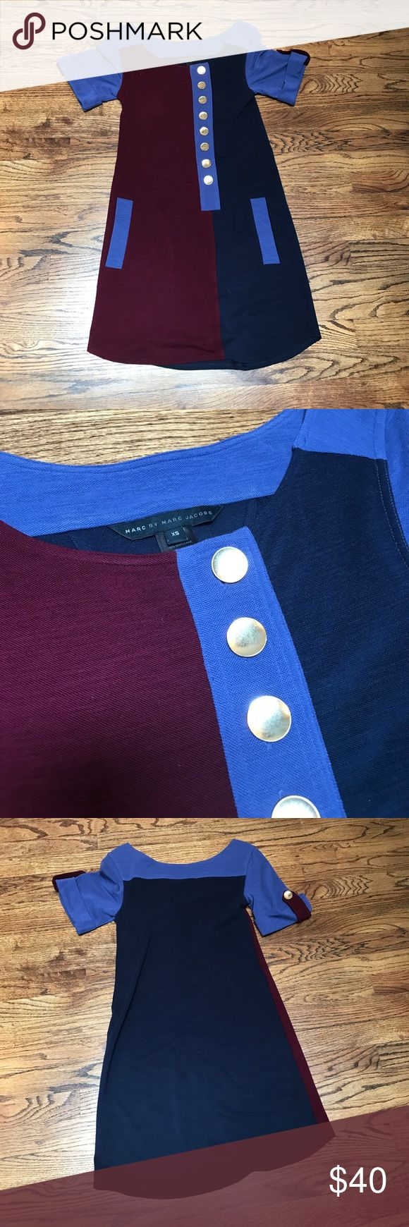 Marc by Marc Jacobs dress Navy, blue and oxblood dress with gold buttons. Buttons down the front and on sleeve detail. 100% wool/ laine Marc By Marc Jacobs Dresses